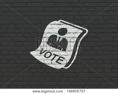 Politics concept: Painted white Ballot icon on Black Brick wall background