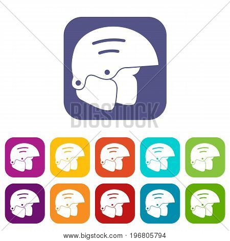 Snowboard helmets icons set vector illustration in flat style in colors red, blue, green, and other