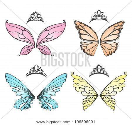 Fairy wings with princess tiara fashion carnival headdress vector illustration isolated on white background