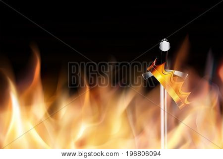 Sword with a crown in the fire. War for power. Vector illustration on a black background