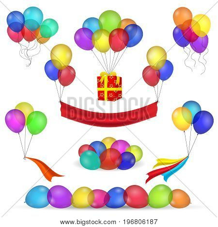 Helium inflatable balloons, ribbon and flying gift box for celebration party decorations isolated on white. Vector birthday decoration items