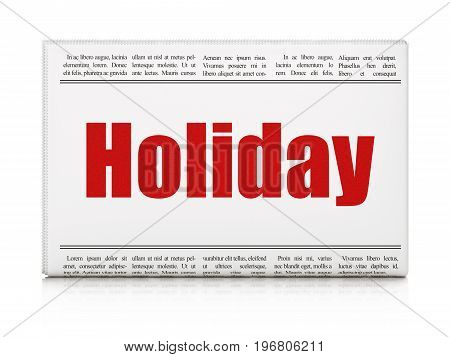 Holiday concept: newspaper headline Holiday on White background, 3D rendering