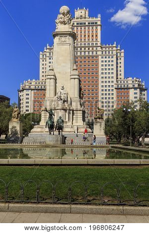 MADRID, SPAIN - MAY 24, 2017: This is a monument to Cervantes and his literary characters in the Plaza of Spain.