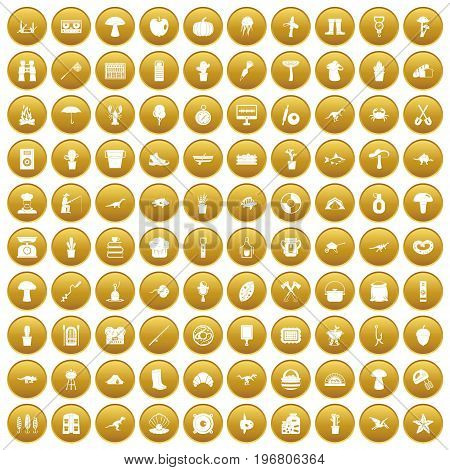100 hobby icons set in gold circle isolated on white vector illustration