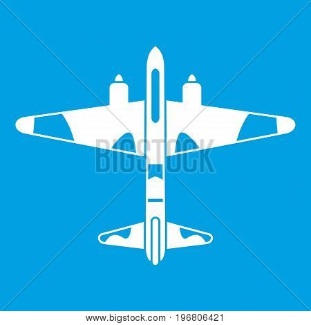 Military fighter aircraft icon white isolated on blue background vector illustration