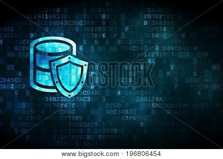 Programming concept: pixelated Database With Shield icon on digital background, empty copyspace for card, text, advertising