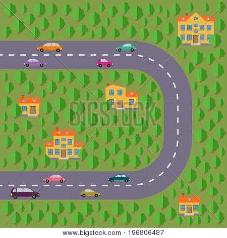 Plan of village. Landscape with the road green forest cars and houses. Vector illustration