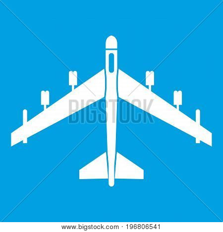 Armed fighter jet icon white isolated on blue background vector illustration