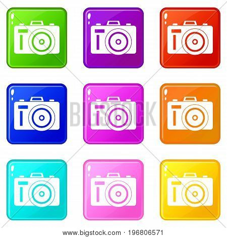 Photocamera icons of 9 color set isolated vector illustration