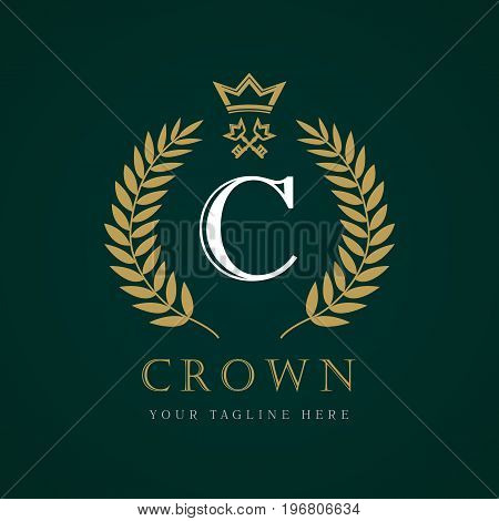 Luxury Crown calligraphic key letter