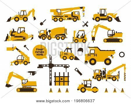 Big set of icons construction work. Building machinery, special transport. Heavy Equipment. Trucks, cranes, tractors, excavators. Hydraulic equipment and tools. Saw, drill shovel Flat style