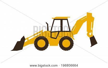 Icon backhoe loader. Construction machinery. Vector illustration. Sleek style
