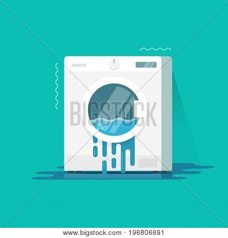 Washing machine broken vector illustration, flat cartoon color damaged washer with water flowing on floor need repair isolated