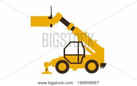Icon telehandler. Construction machinery. Vector illustration Flat style