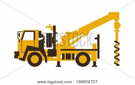 Icon drilling truck. Construction machinery. Vector illustration. Flat style