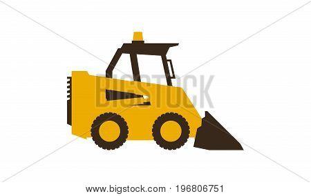 Icon mini loader. Construction machinery. Vector illustration. Flat style