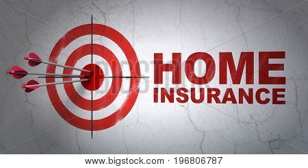 Success Insurance concept: arrows hitting the center of target, Red Home Insurance on wall background, 3D rendering