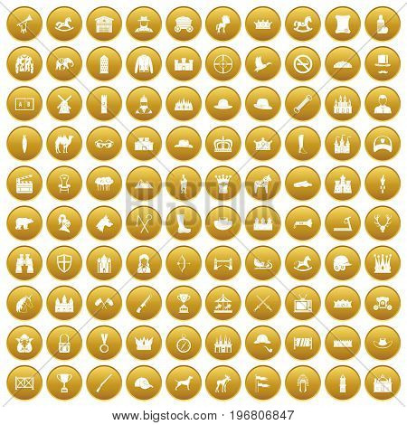 100 horsemanship icons set in gold circle isolated on white vector illustration