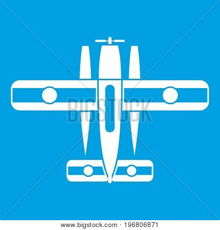 Ski equipped airplane icon white isolated on blue background vector illustration
