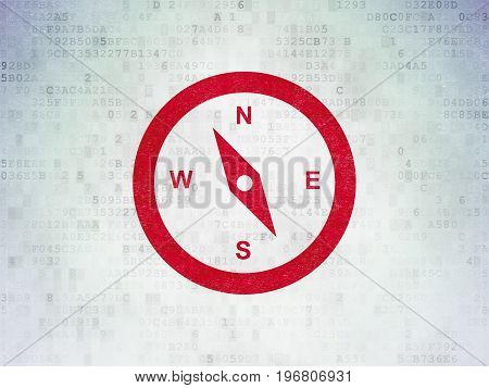 Tourism concept: Painted red Compass icon on Digital Data Paper background
