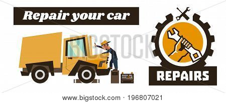 Horizontal banner template on car repairs. Repair logo, hand holding a wrench. Technician reconditioning orange truck. Vector illustration. Flat style.