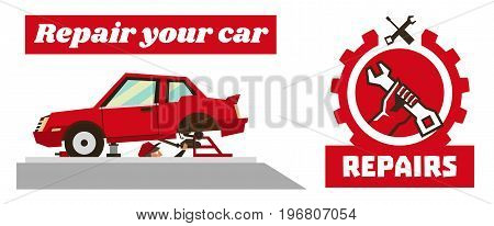 Horizontal banner template on car repairs. Repair logo, hand holding a wrench. Disassembled car red. Auto mechanic removes reducer. Inspection pit. Vector illustration. Flat style.