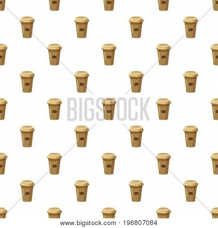 Disposable coffee cup with coffee bean logo pattern seamless repeat in cartoon style vector illustration
