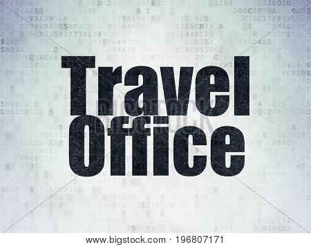 Travel concept: Painted black word Travel Office on Digital Data Paper background