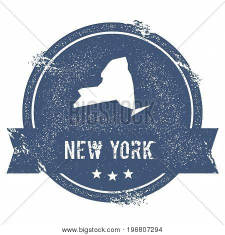 New York Mark. Travel Rubber Stamp With The Name And Map Of New York, Vector Illustration. Can Be Us