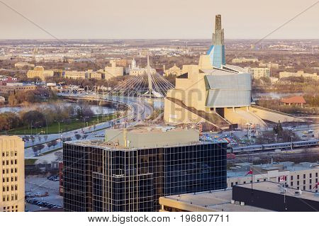 Skyline of Winnipeg at sunset. Winnipeg Manitoba Canada.