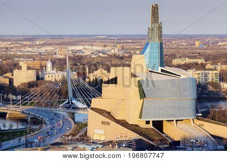 Skyline of Winnipeg - aerial photo. Winnipeg Manitoba Canada.