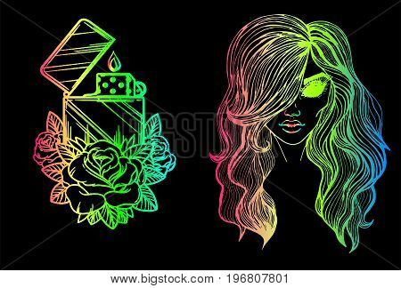 Neon sketches - a mystical portrait of a girl without eyes and a lighter with a rose