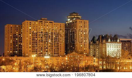 Skyline of Winnipeg at night. Winnipeg Manitoba Canada.