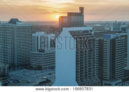 Skyline of Winnipeg at sunset. Winnipeg Manitoba Canada
