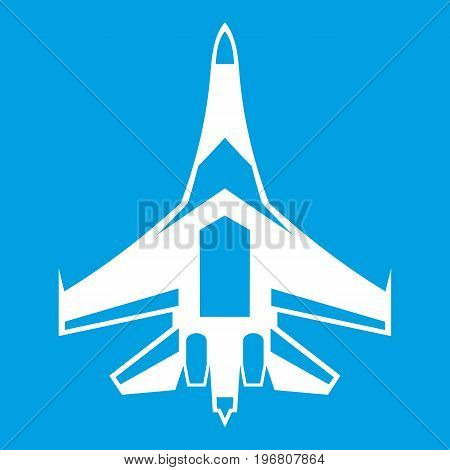 Jet fighter plane icon white isolated on blue background vector illustration