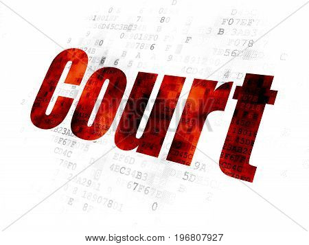 Law concept: Pixelated red text Court on Digital background