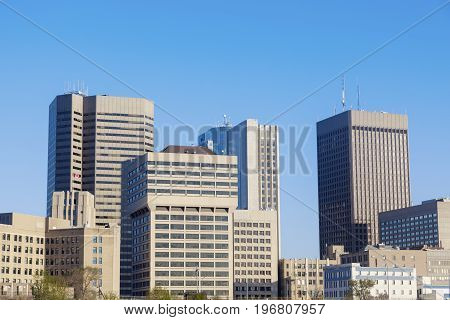 The Skyline of Winnipeg. Winnipeg Manitoba Canada.