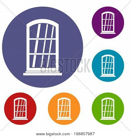 White narrow window icons set in flat circle red, blue and green color for web