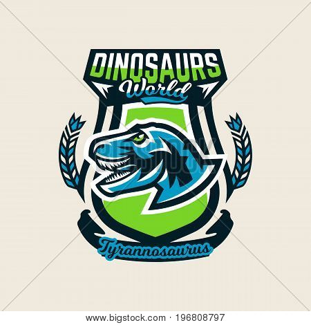 Colourful emblem, logo, label the dinosaur of the Jurassic period of the Mesozoic era is isolated on a background of the shield. Vector illustration