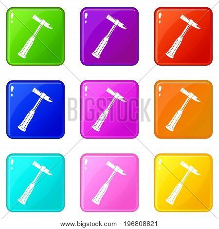 Hammer slag of welder icons of 9 color set isolated vector illustration