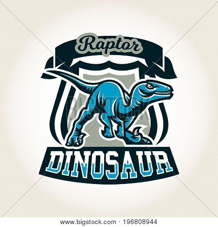 Colourful emblem, logo, label the world of the dinosaurs of the Jurassic period of the Mesozoic era is isolated on a background of the shield. Vector illustration, printing for t-shirts.