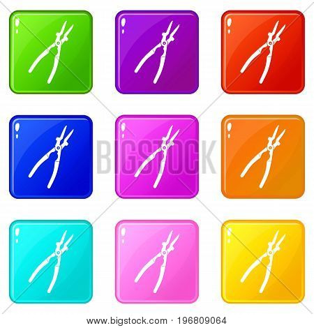 Metal welder pliers icons of 9 color set isolated vector illustration