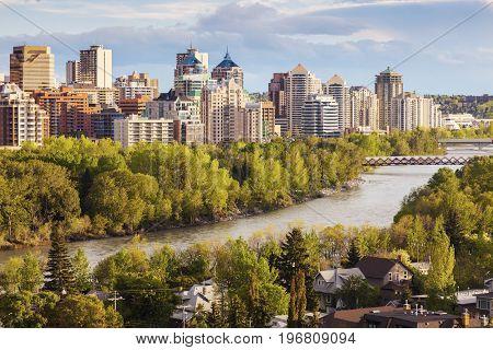 Calgary - panorama of the city. Calgary Alberta Canada.