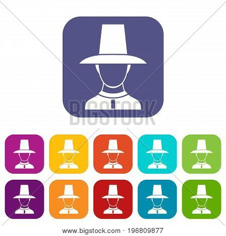 Korean soldier in historic uniform icons set vector illustration in flat style in colors red, blue, green, and other