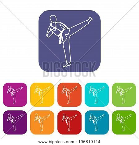 Wushu master icons set vector illustration in flat style in colors red, blue, green, and other