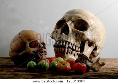 Still Life Photography With Human Skull And Fresh Cherries At Harvest Time On Wooden Table With Wall