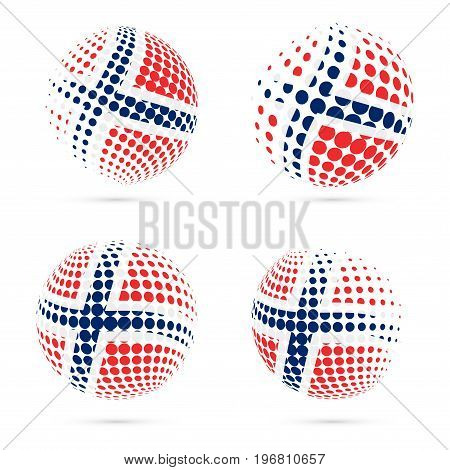 Norway Halftone Flag Set Patriotic Vector Design. 3D Halftone Sphere In Norway National Flag Colors