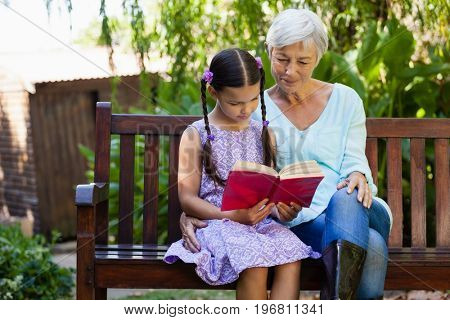 Senior woman sitting by girl reading book on wooden bench at backyard