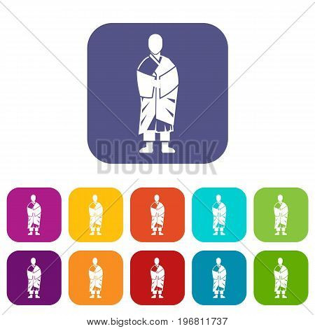 Buddhist monk icons set vector illustration in flat style in colors red, blue, green, and other