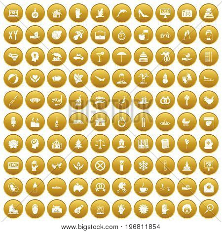 100 joy icons set in gold circle isolated on white vector illustration